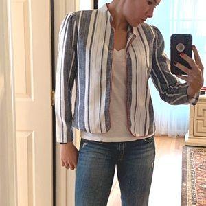 Vintage 80s Striped Jacket Linen